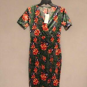 Trafaluc Dresses - Zara Trafaluc Green Floral Velvet Dress Medum NWT